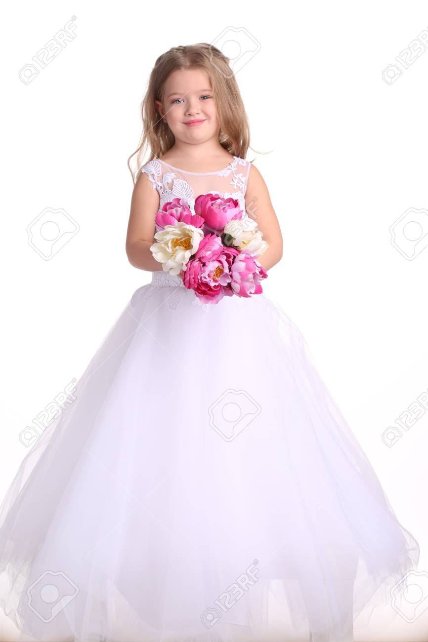 Girl In Wedding Dress With Flowers, Little Bride, Happy Childhood ...