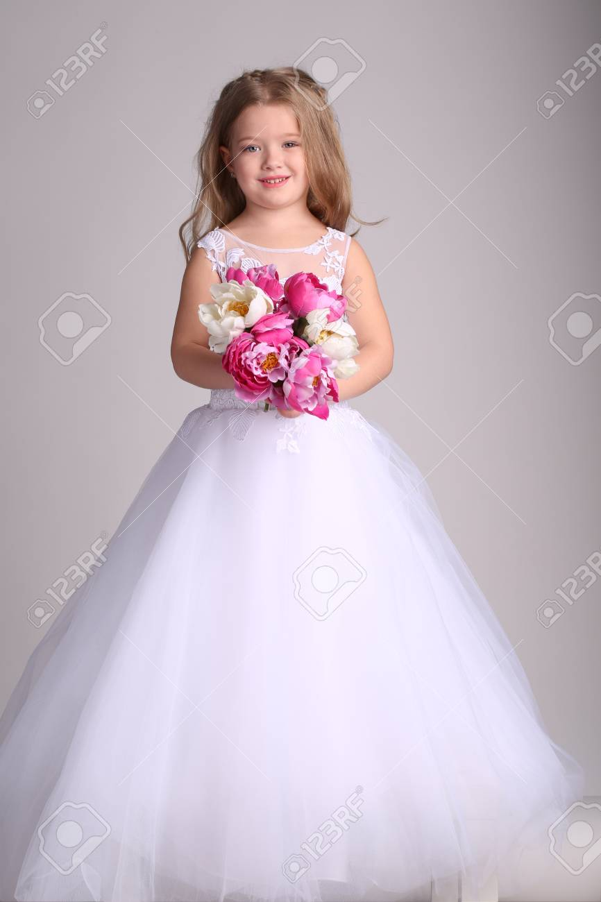 Lady In Wedding Dress With Flowers, Little Bride, Happy Childhood ...