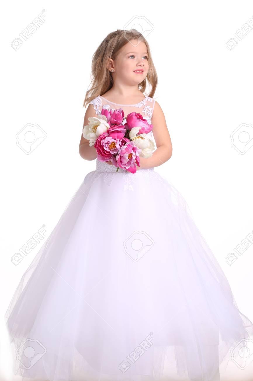 Kid In Wedding Dress With Flowers, Little Bride, Happy Childhood ...