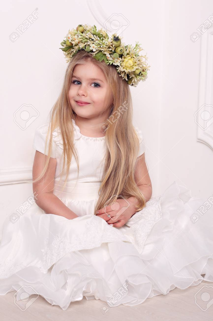 Little Lady In Dress With Head Wreath, Girls Dresses, Kids Clothes ...