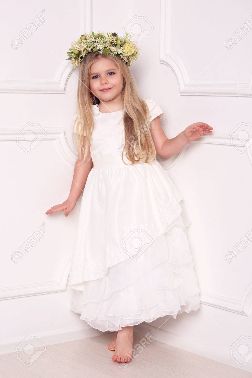Child In Dress With Floral Head Wreath, Girls Dresses, Kids Clothes ...
