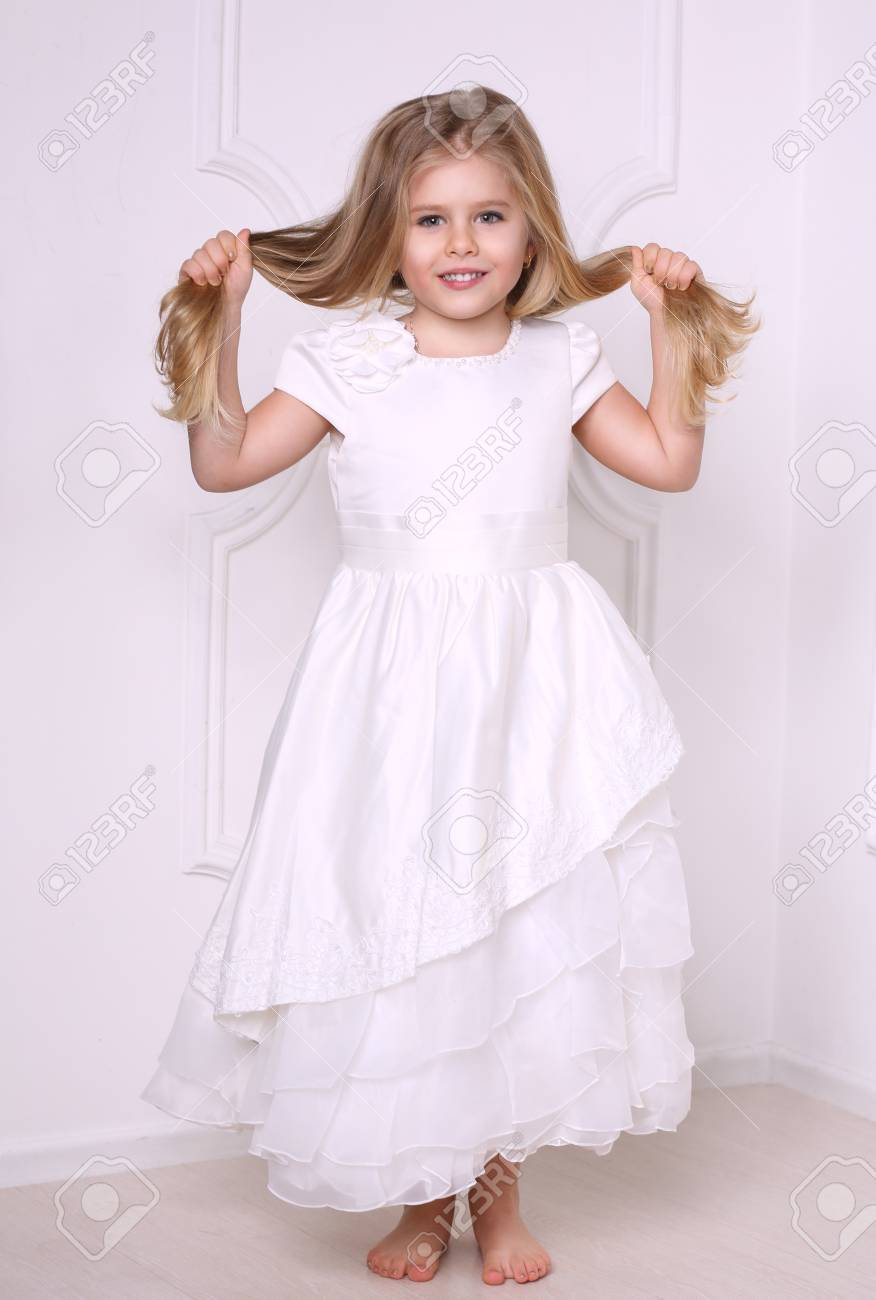 Little Girl In Dress Holding Her Hair, Girls Dresses, Kids Clothes ...