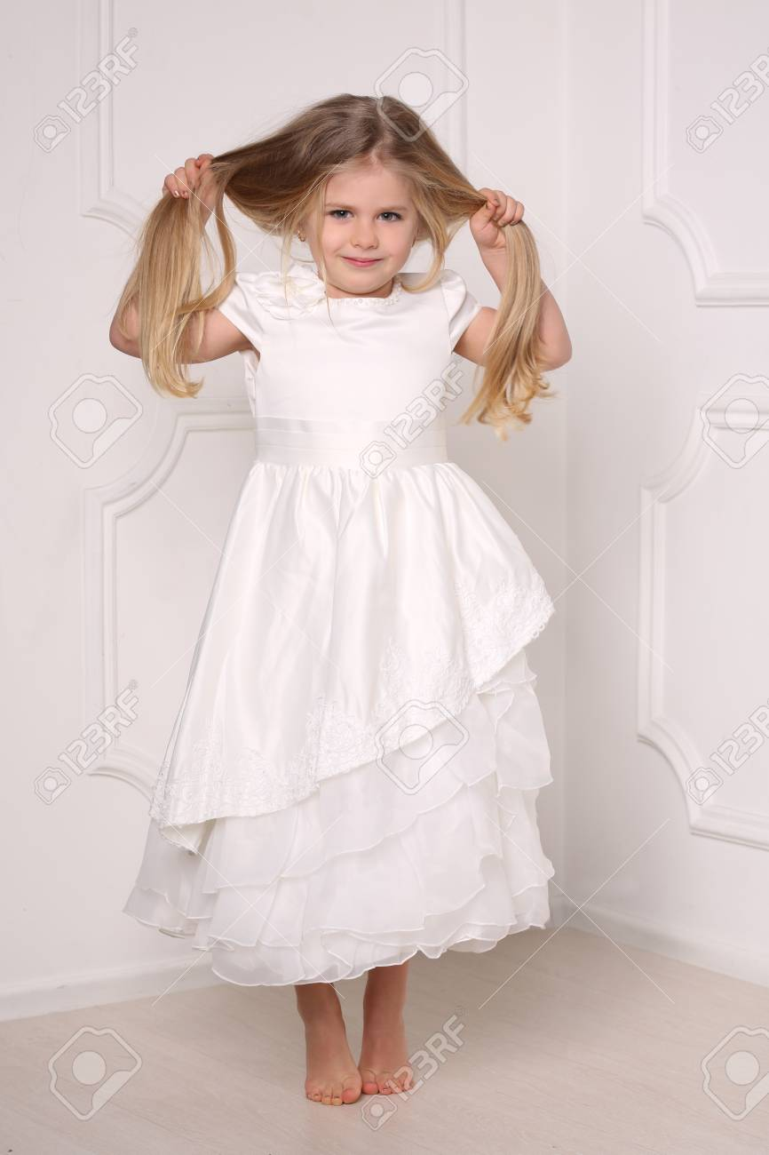 Little Princess In Dress Holding Her Hairs, Kids Clothes, Wedding ...