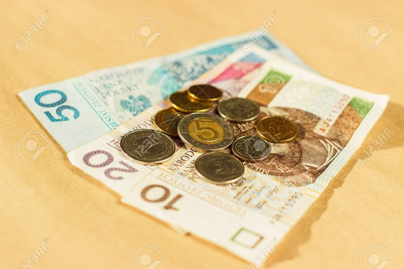 Polnisches Geld Banknoten Und Münzen Auf Dem Tisch Draufsicht