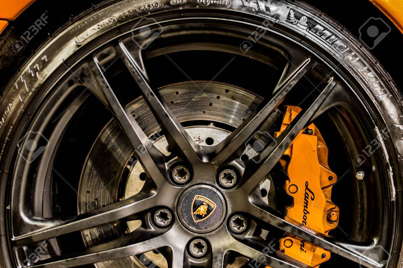 Close Up Of A Car S Rim Wheel And Breaks With Lamborghini Emblem