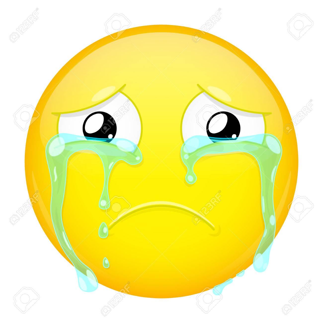 Sad Crying Emoji Bad Emotion Weeping Emoticon Vector Illustration Smile Icon Stock