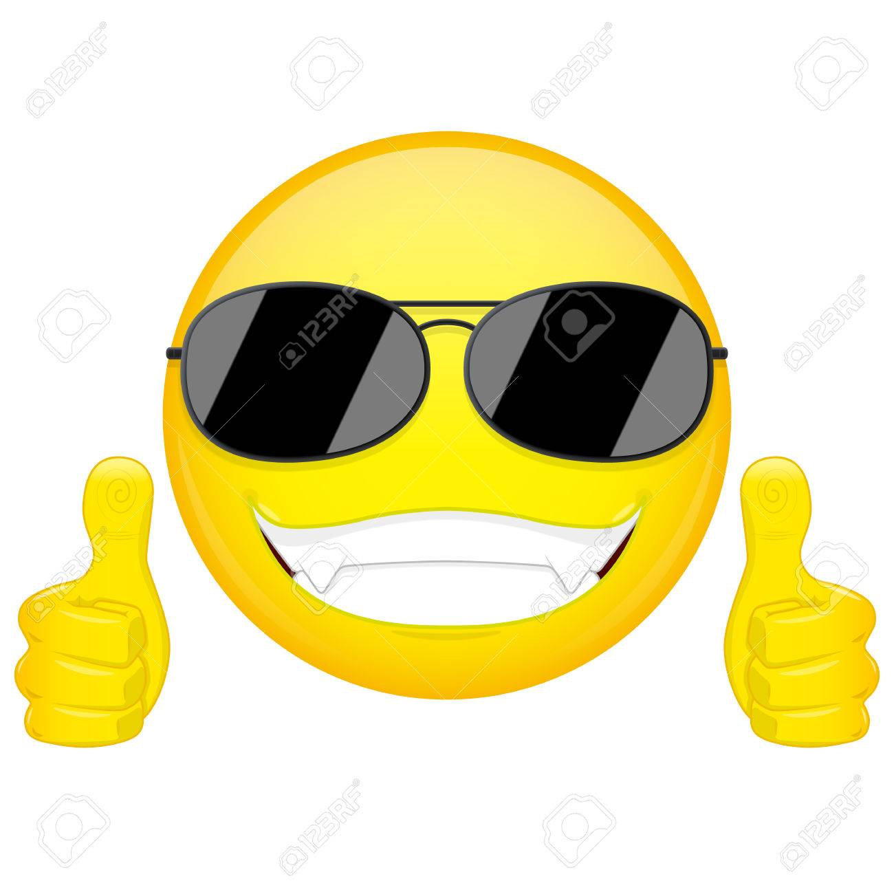 good idea emoji thumbs up emotion cool guy with sunglasses emoticon vector illustration