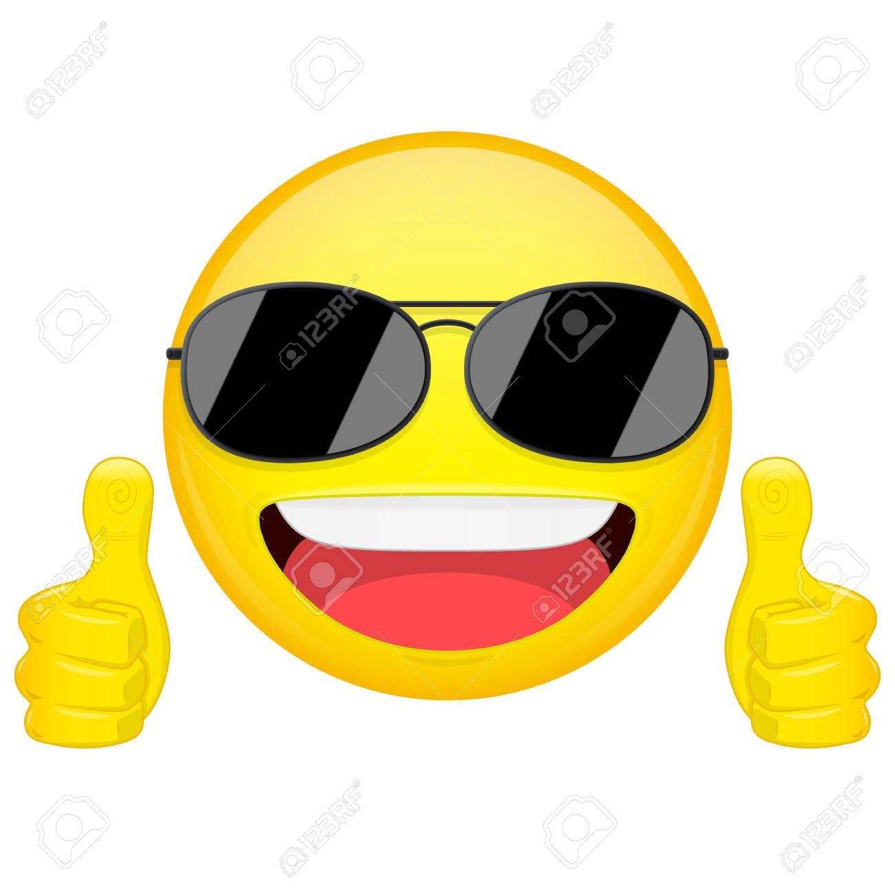 good idea emoji. thumbs up emotion. cool guy with sunglasses