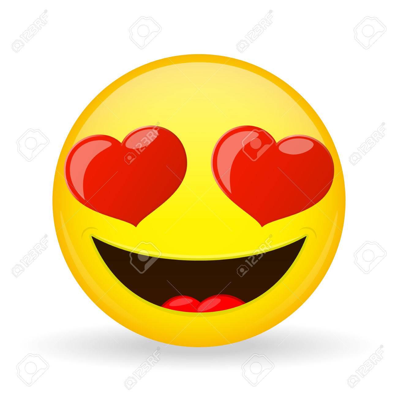 Emoji Dans L Amour Emotion Du Bonheur Amorously Sourire Emoticone Style De Bande Dessinee Clip Art Libres De Droits Vecteurs Et Illustration Image 69948784