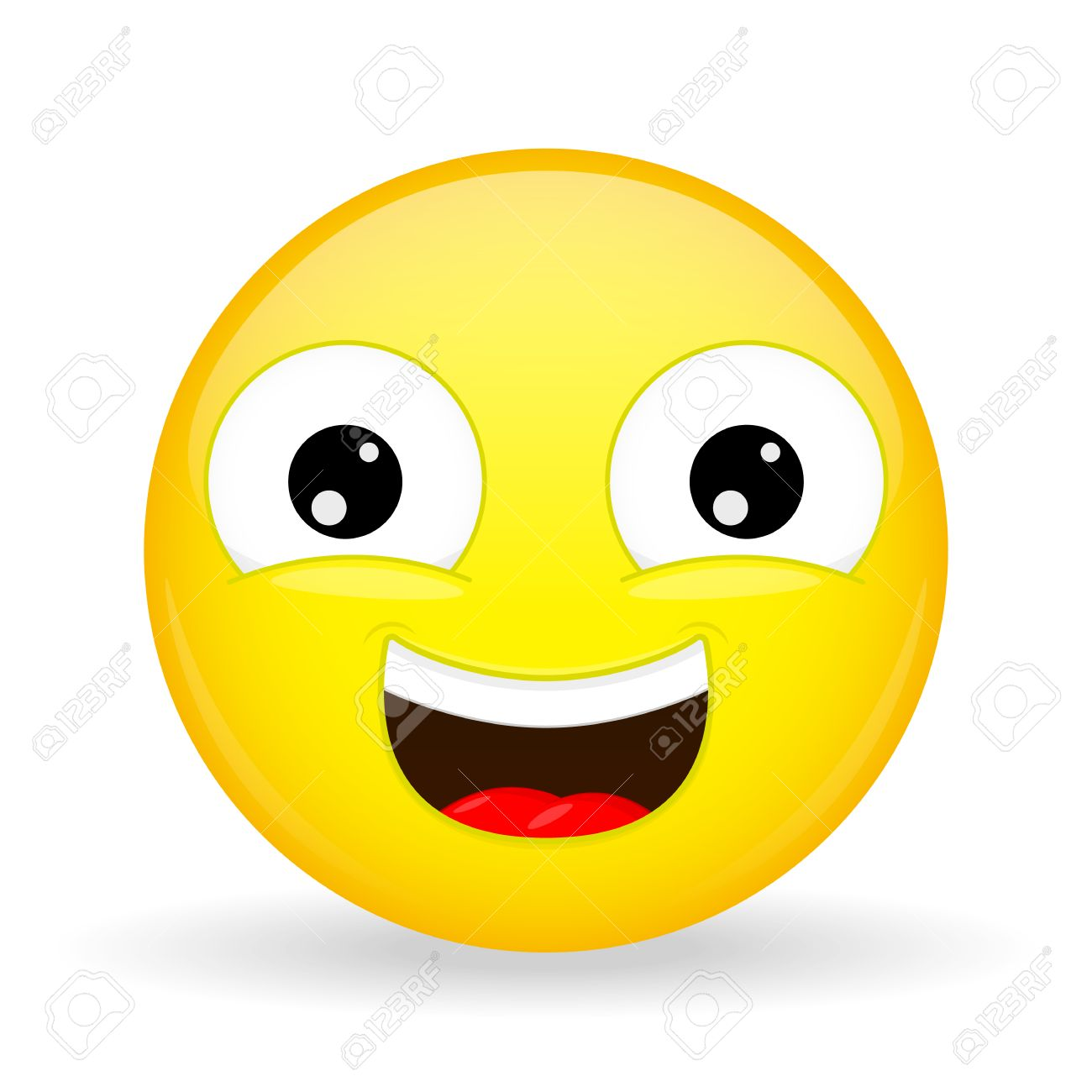 laughing emoji emotion of happiness sweet smile emoticon cartoon style stock vector