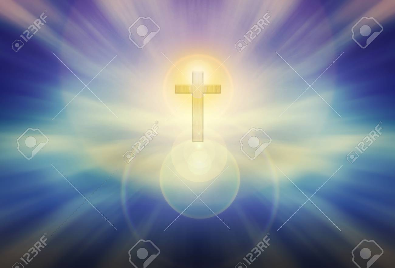 Glow Stock Light Picture Blue God Trough Royalty Shining Form And Background Photo Image Free Image Crucifix 59152146 On