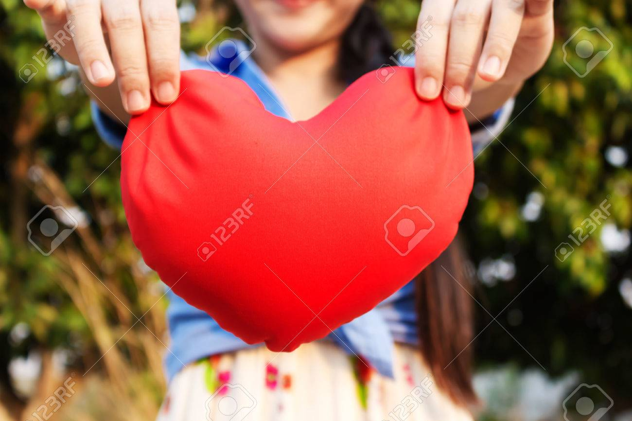 Big Red Heart And Background Of Girl Or Women Hands With Copy ...