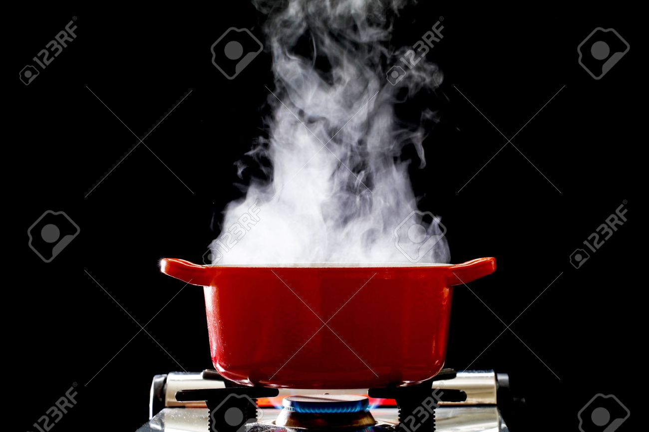 Boiling Water Steam A boiling pot  steam