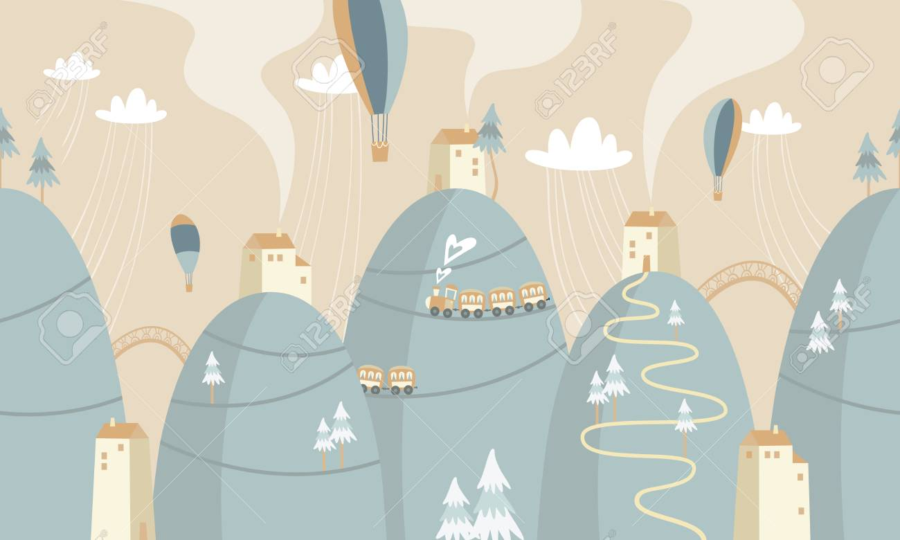 mountains with houses and trains, vector illustration. - 96838641