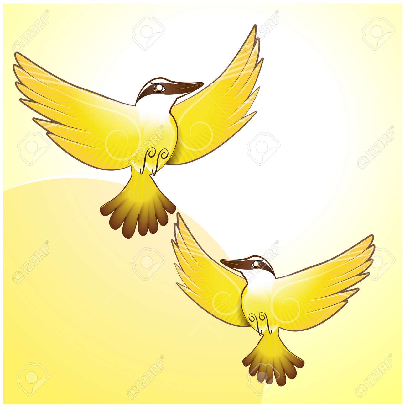 Bem Te Vi Cute Yellow Bird Illustration Vector - 166722174