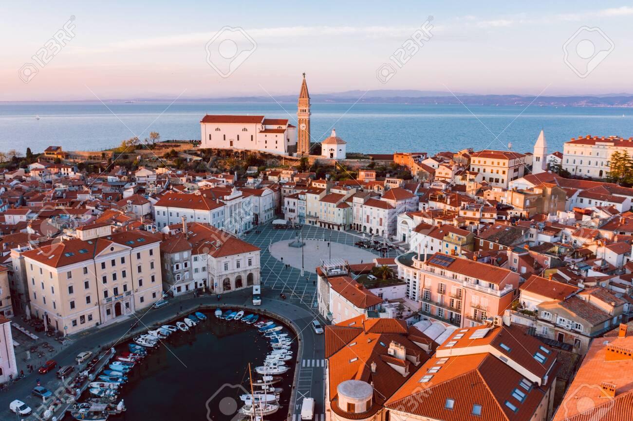 Aerial panorama of beautiful Slovenian city of Piran - 123608533