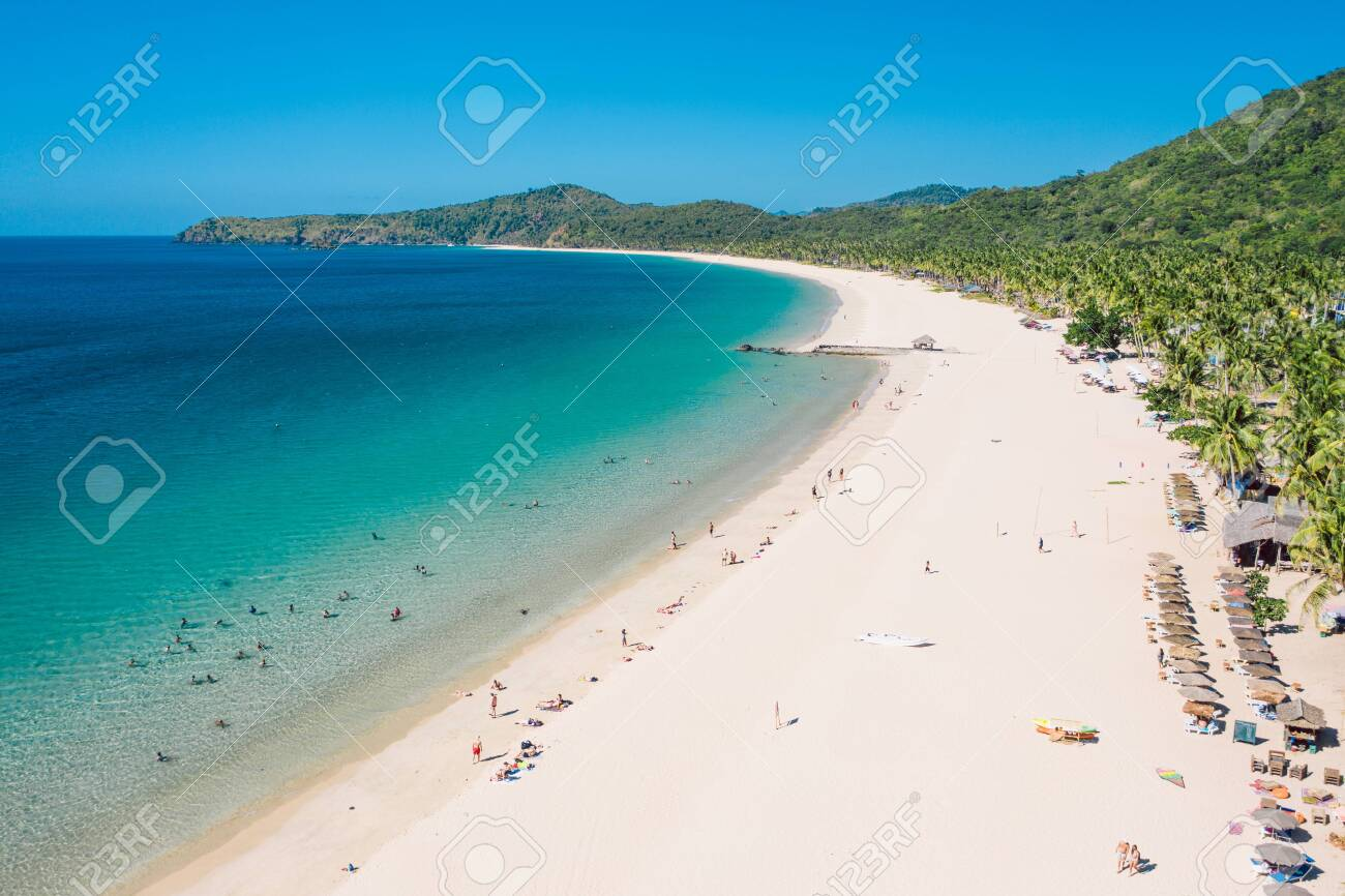Aerial View Of Nacpan Beach On Palawan Philippines