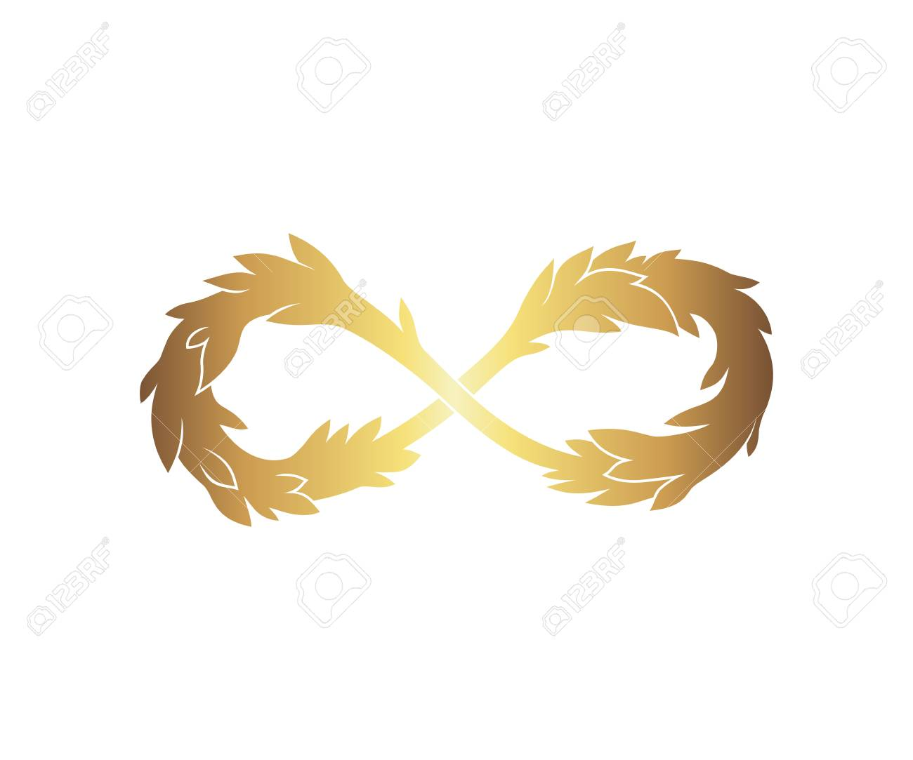 Infinity Sign With Leaves Isolated On White Background Royalty Free