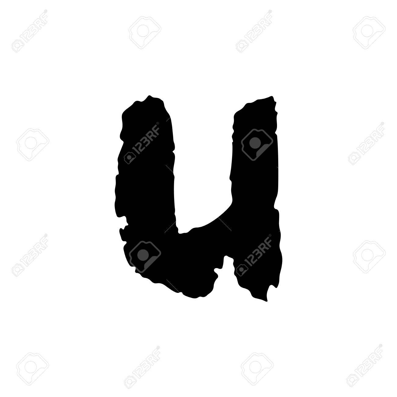 Vector Hand Drawn Letter U With Smooth Acrylic Brush Style Edges