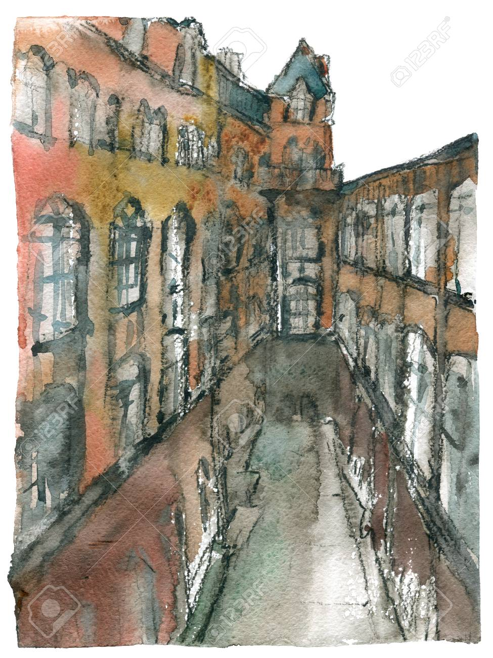 Watercolor Painting Of Courtyard Of Museum Of Applied Arts Budapest Stock Photo Picture And Royalty Free Image Image 96861532