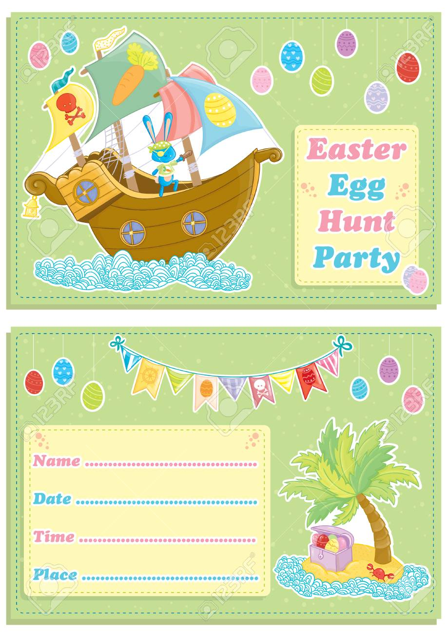 Happy Easter Children S Egg Hunt Party Invitation Card