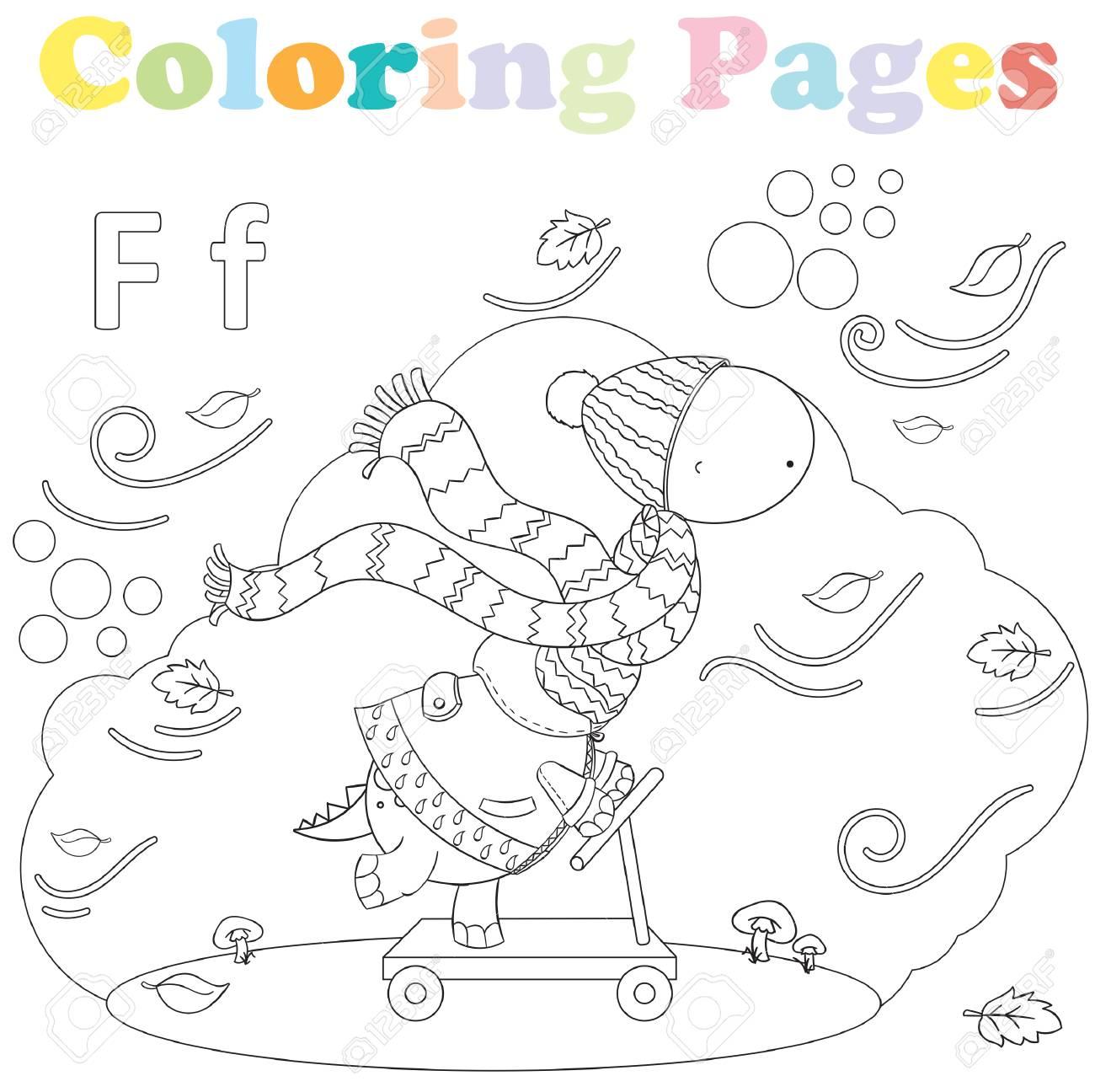 Dibujo Para Colorear Para Ninos Conjunto De Alfabeto Letra F