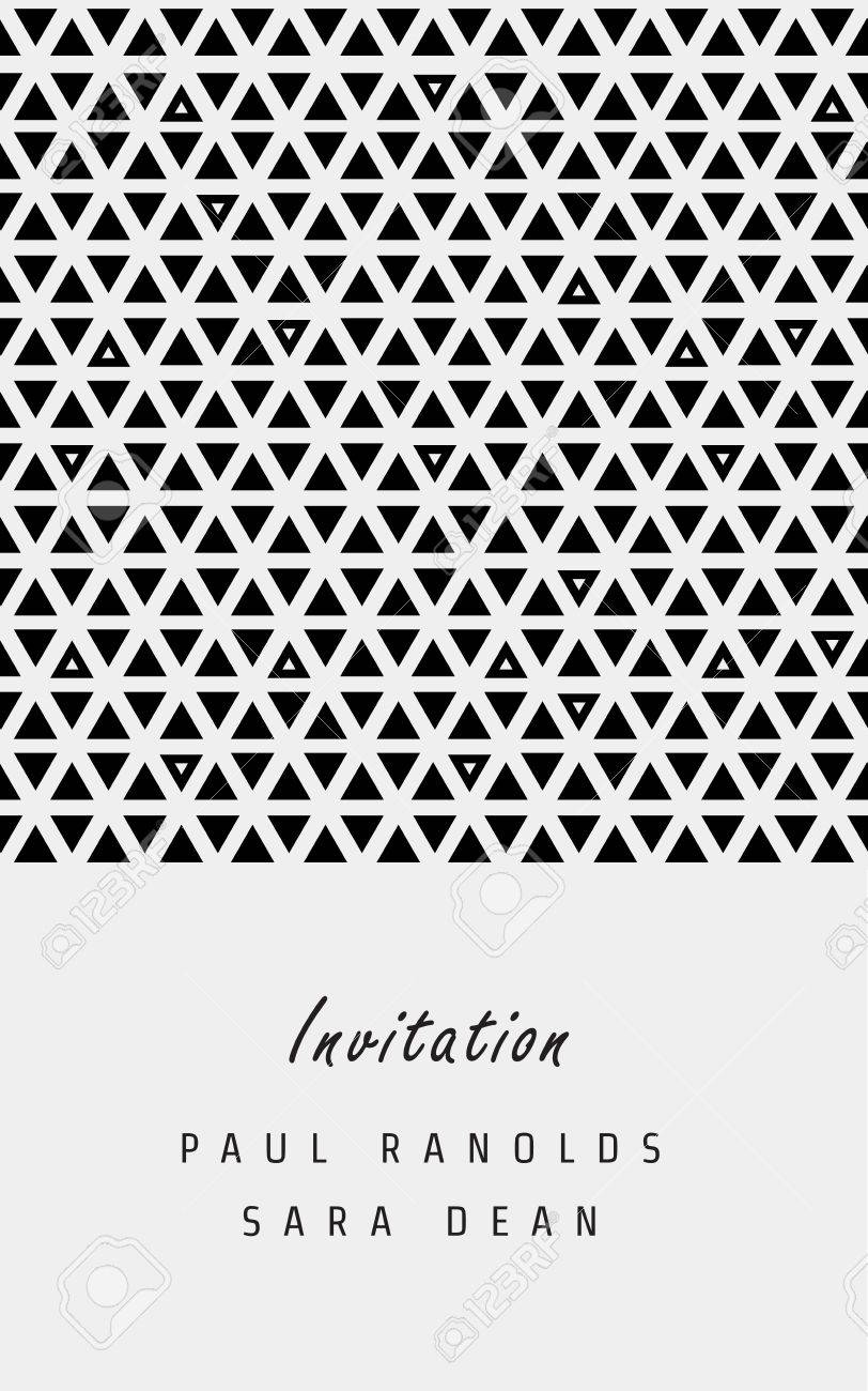 Vector Invitation Card Or Ticket Monochrome Geometric Pattern - Save the date ticket template