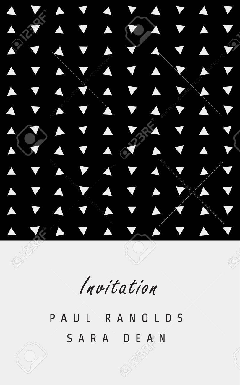 vector invitation card or ticket monochrome geometric pattern