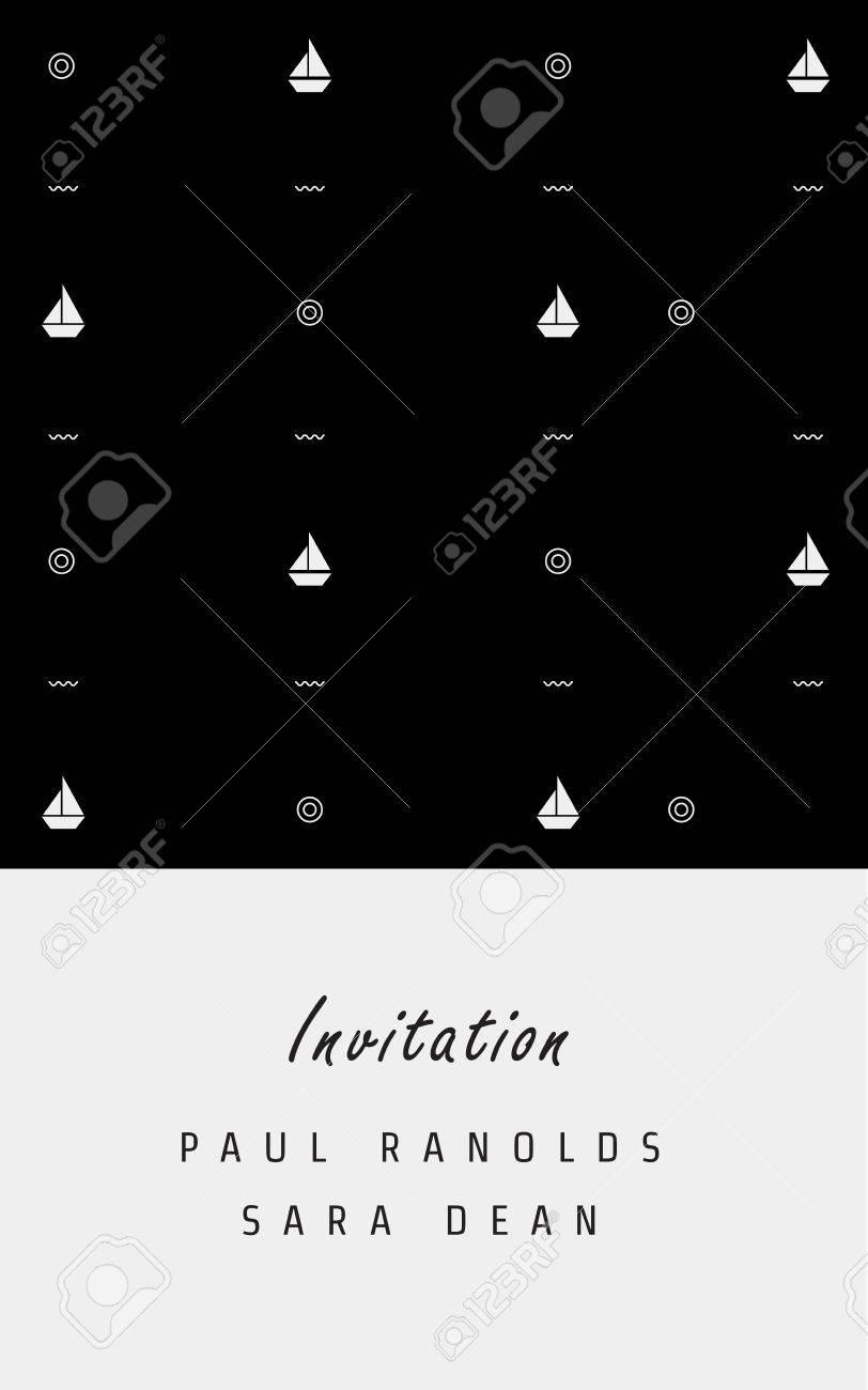 invitation card or ticket monochrome geometric pattern templates
