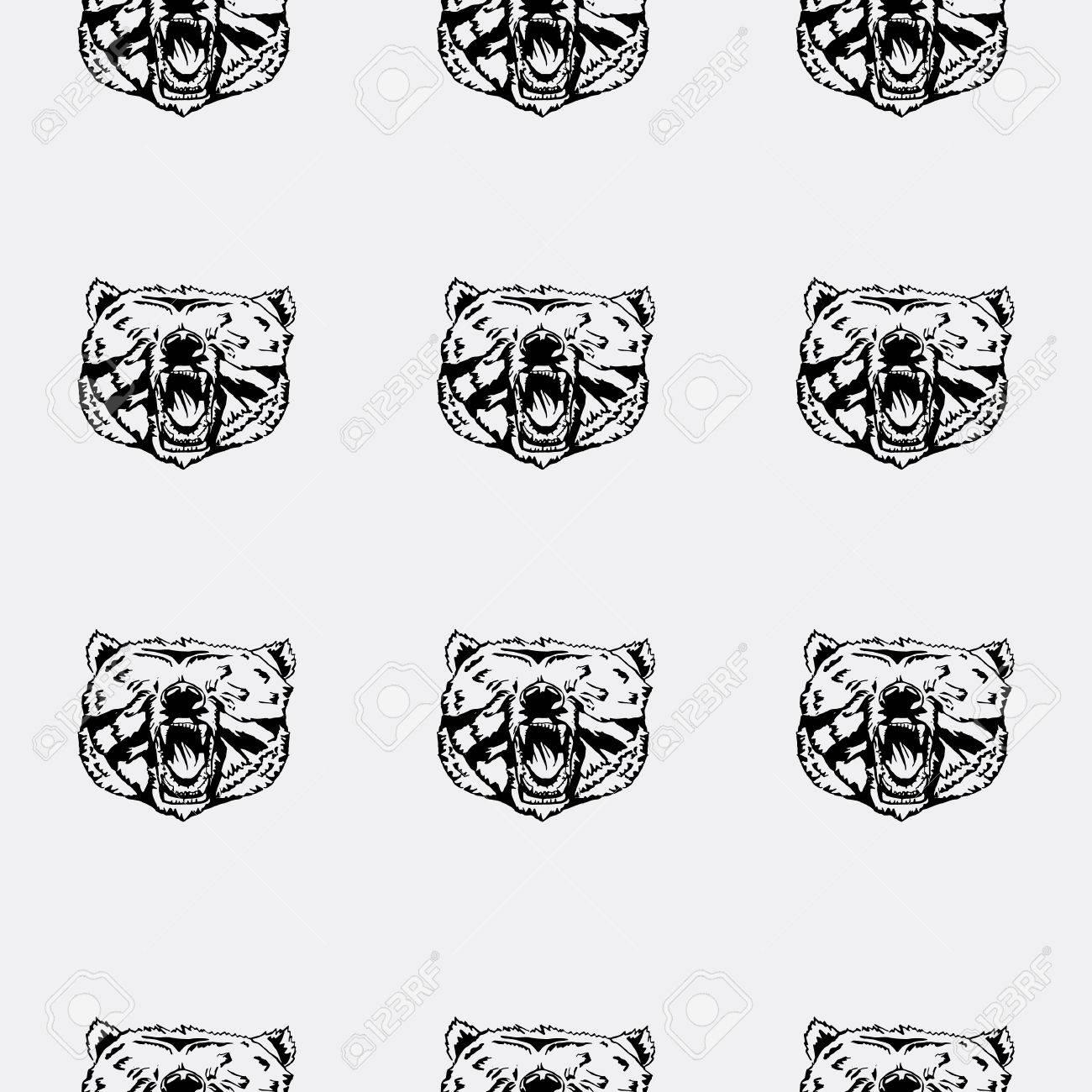 Patrón De La Cabeza De Oso, ícono. Repetidas, Sin Costura, Dibujado ...