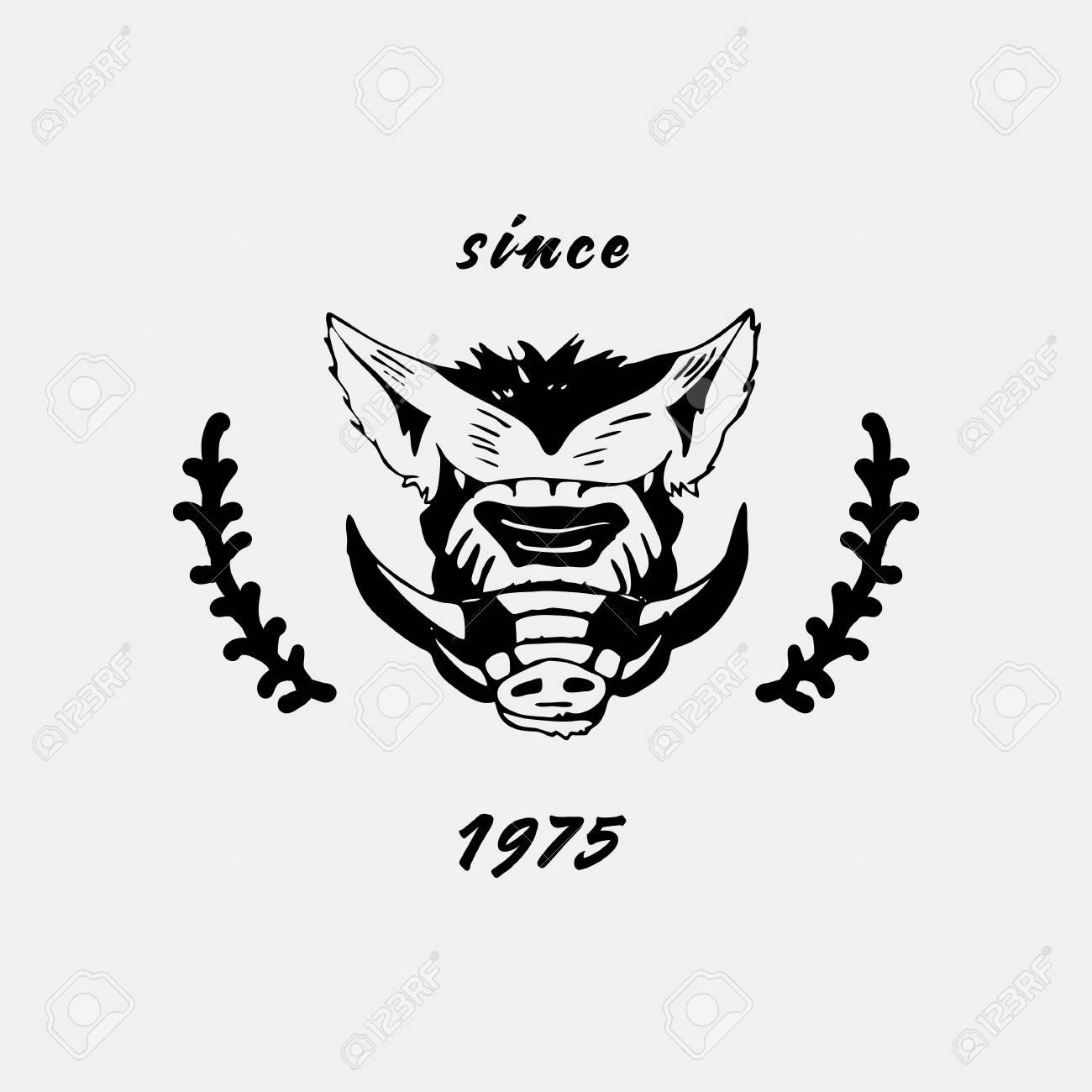 Logo Symbol Sign Stencil Boar Headunique Technique Vintage