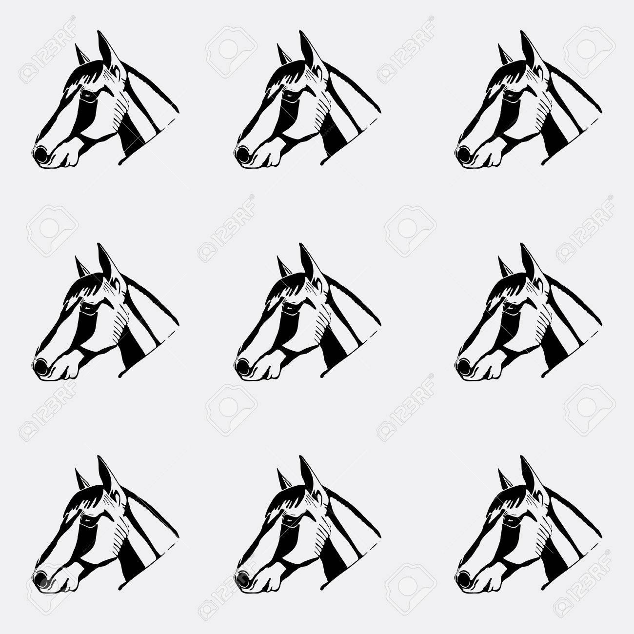 Muster Schwarz Weiss Schwarz Und Weiss Pferdekopf Handgezeichneten Stil Schablone Gravur Linolschnitt Stil Lizenzfrei Nutzbare Vektorgrafiken Clip Arts Illustrationen Image 67944479