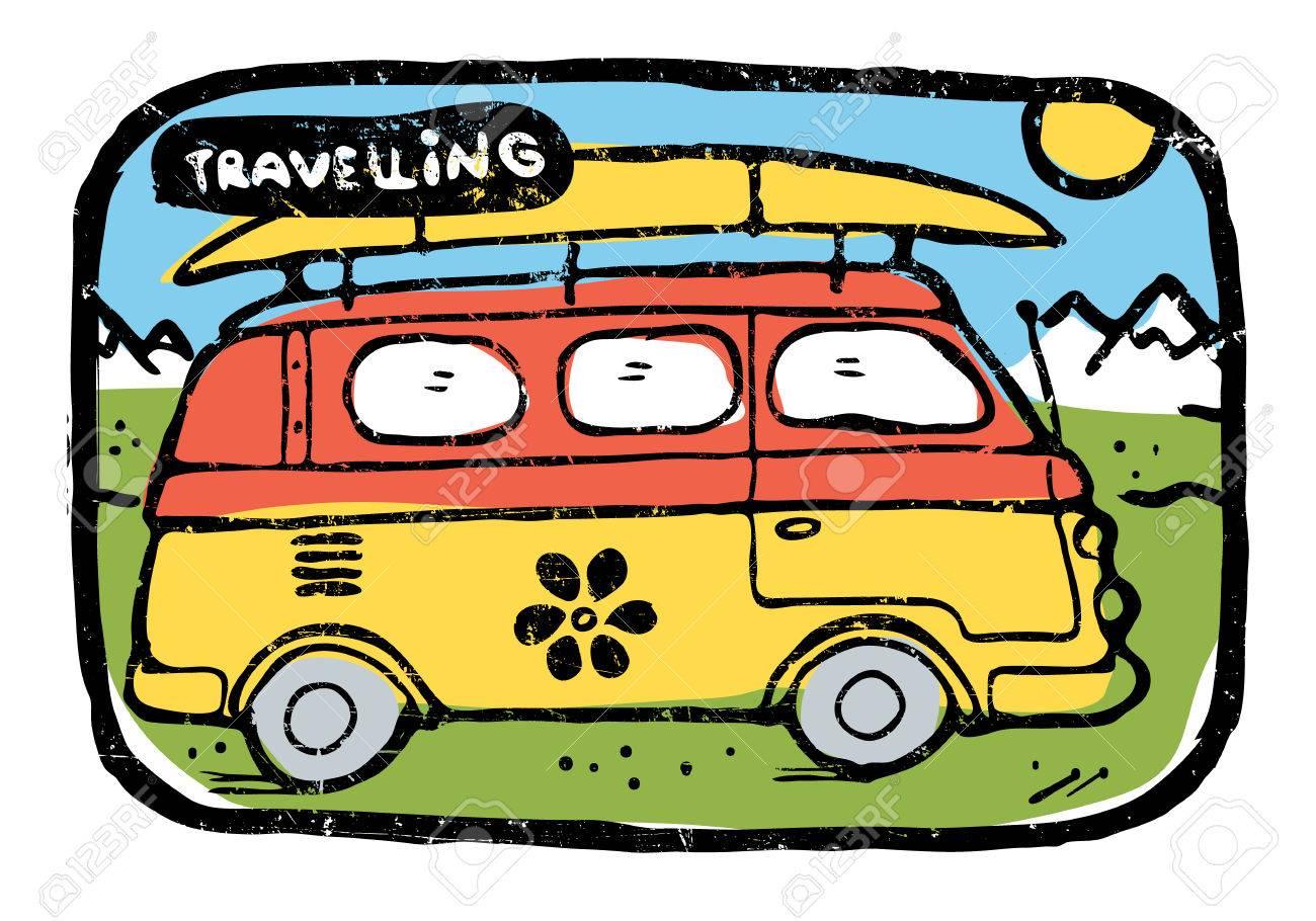ヒッピーの道の上に乗ってサーフィン ボード荷物と一緒にバスを旅行し