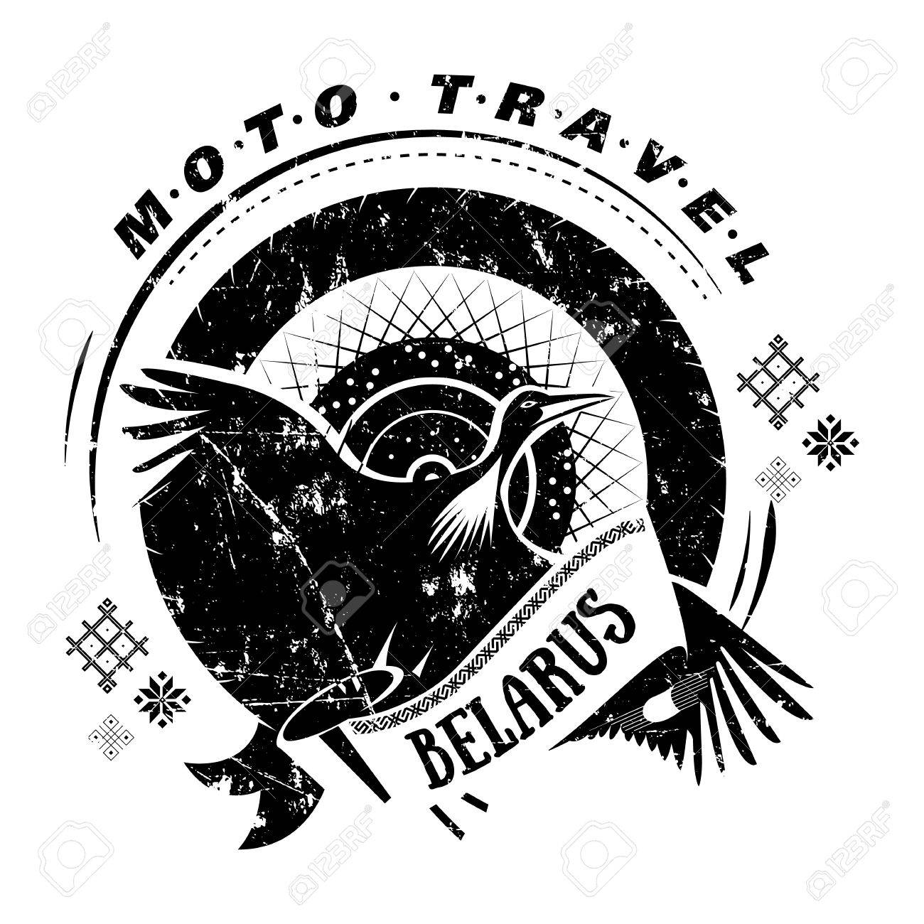 Moto Travel Emblem With Bird Stork Wheel On Background National