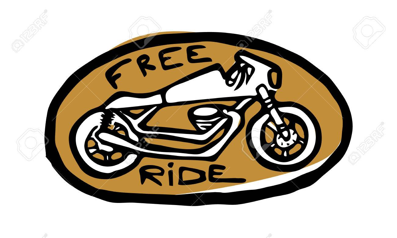 Oval golden emblem sticker bike side view free ride text stock vector