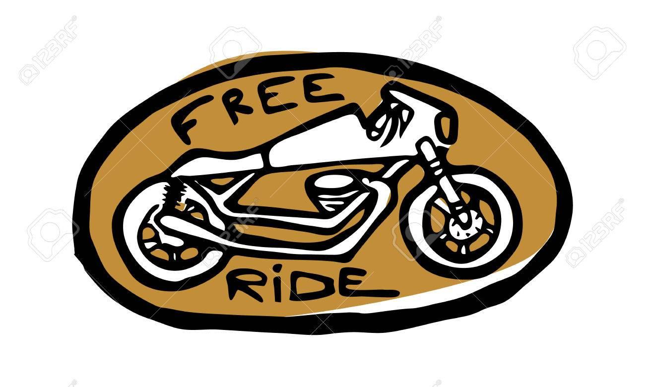 Oval golden emblem sticker bike side view free ride text stock vector