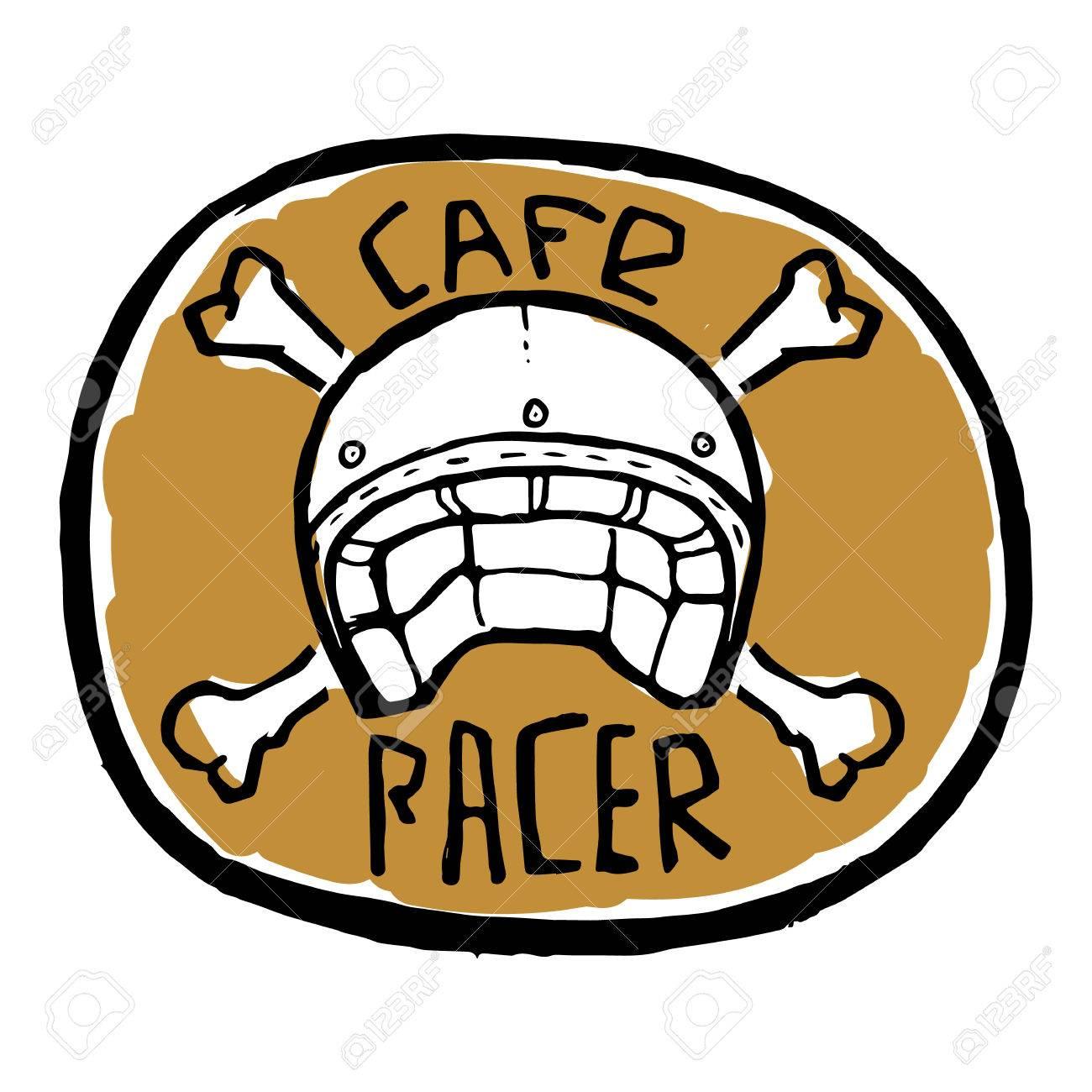 Round emblem or sticker bike helmet with crossed bones cafe racer text stock vector