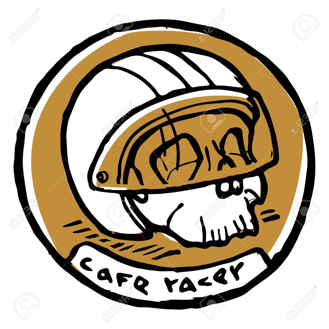 Round Emblem Or Sticker Scull In Bike Helmet At Half Turn Cafe Racer