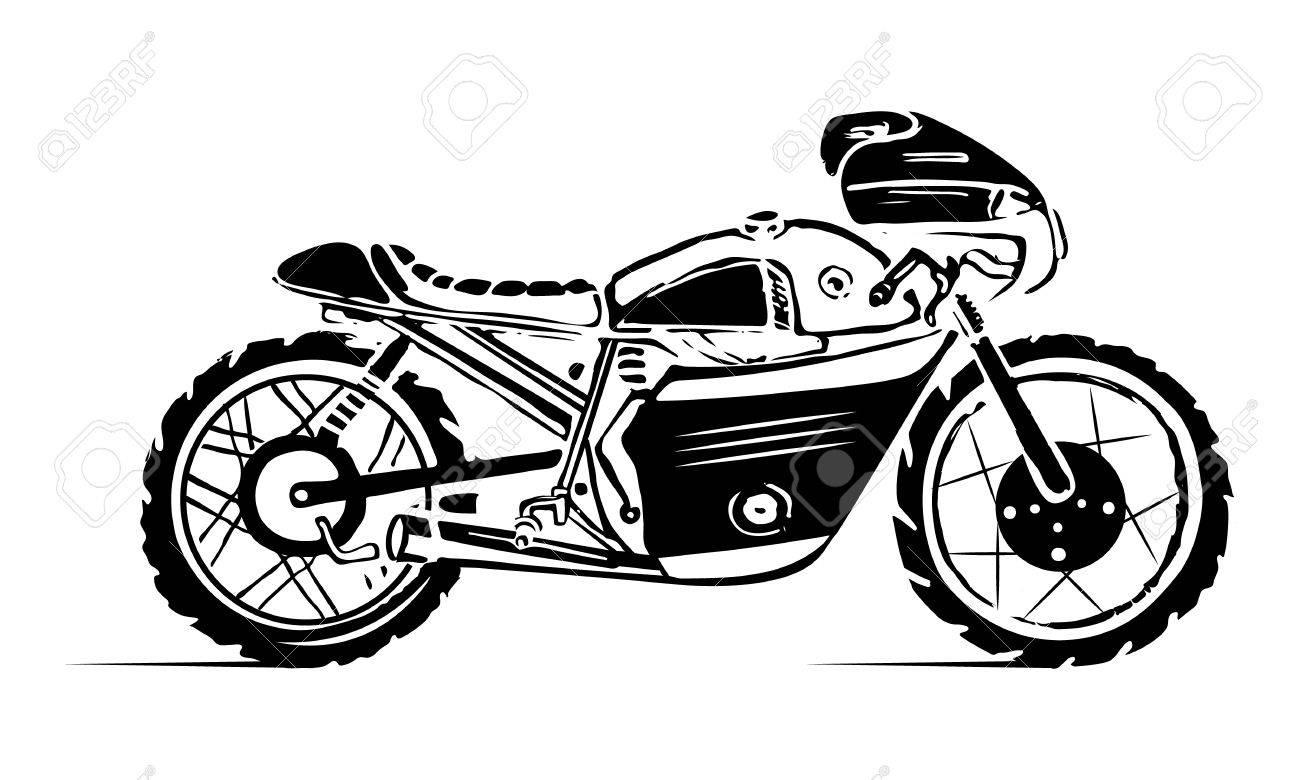 Emblem or sticker hipster bike motorbike side view stock vector 85725559