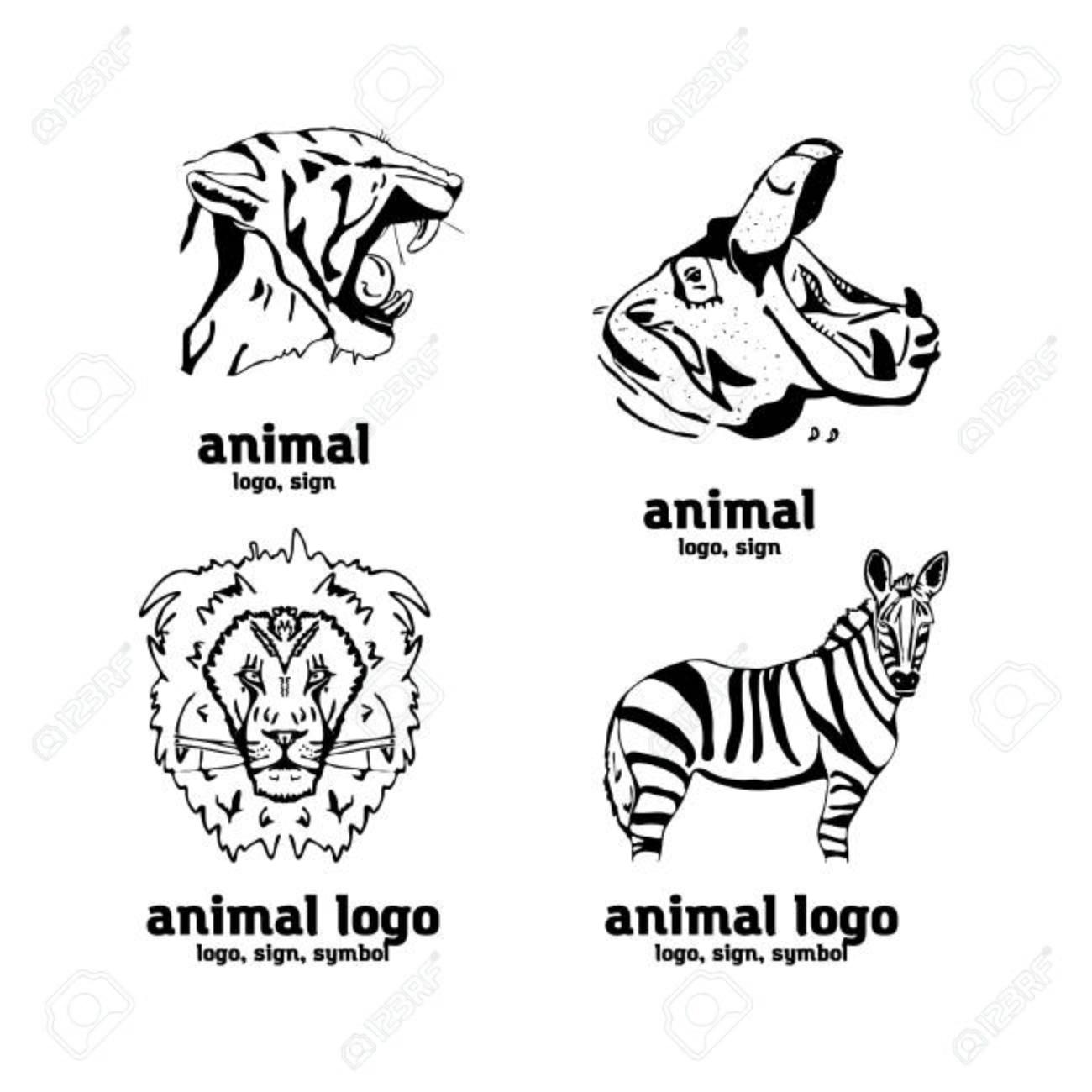 Hand drawn pencil graphics african animals logo sign symbol banque d