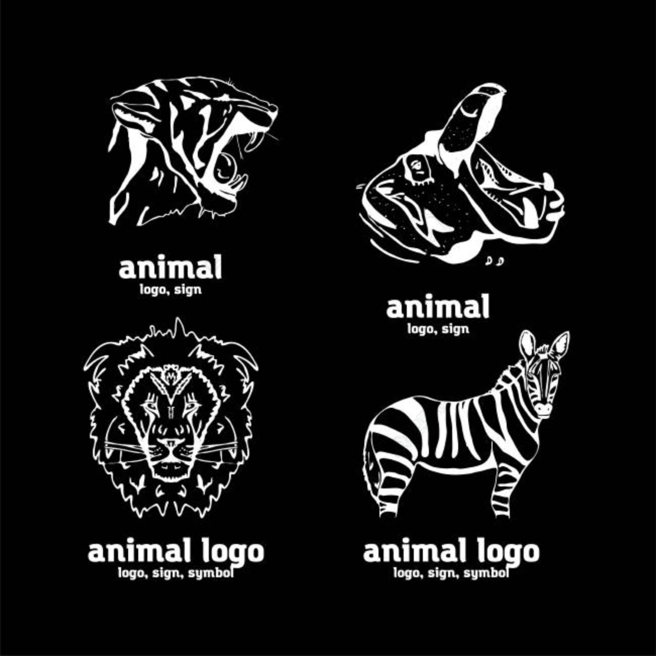 Hand drawn pencil graphics african animals sign symbol banque dimages