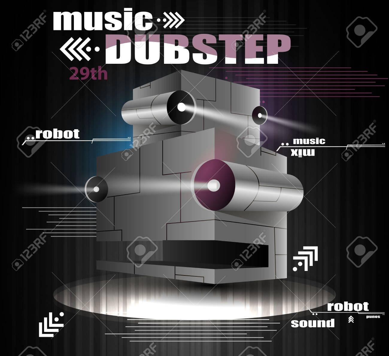 robot head whith light, the music dubstep Stock Vector - 13467707
