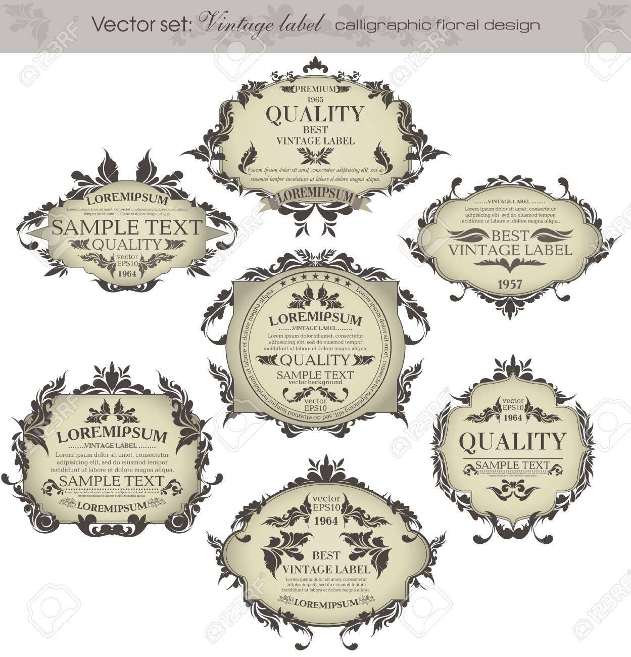 set  vintage labels - inspired by floral retro originals Stock Vector - 14201672