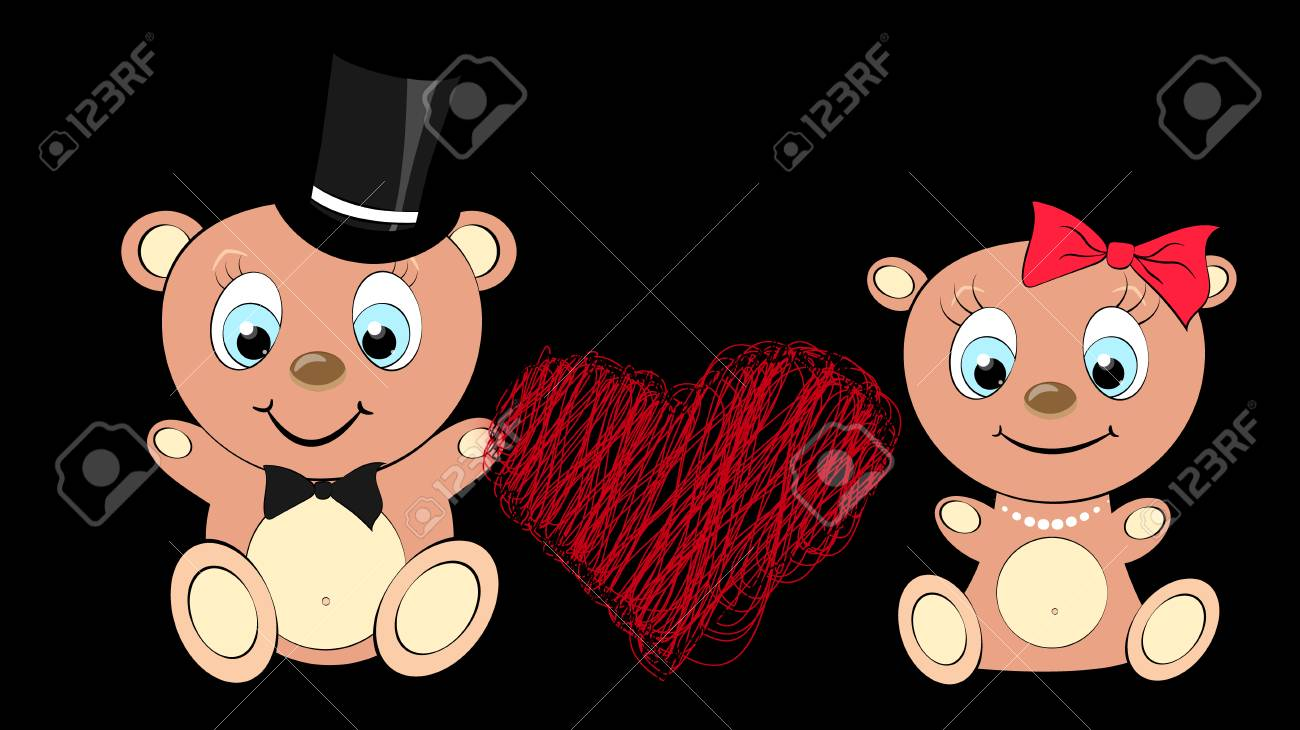 Two Lovers Cute Beautiful Brown Bear Girl And Boy With Big