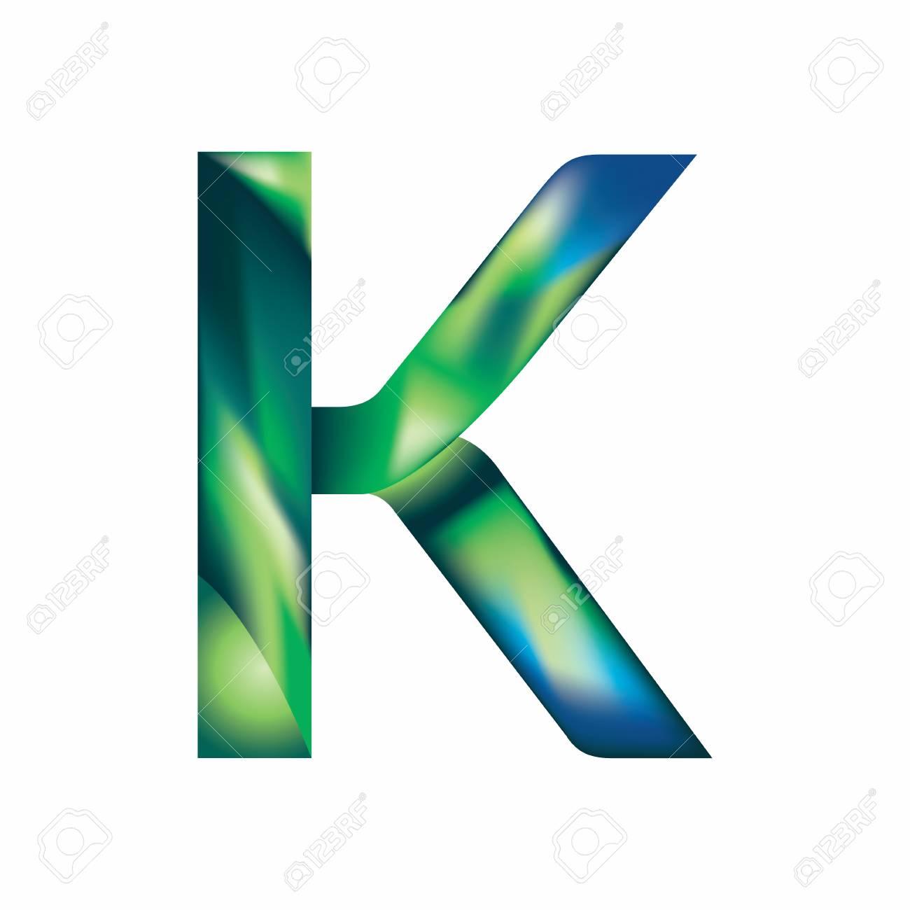 Letter K In Blue Green Color Image Illustration Royalty Free ...