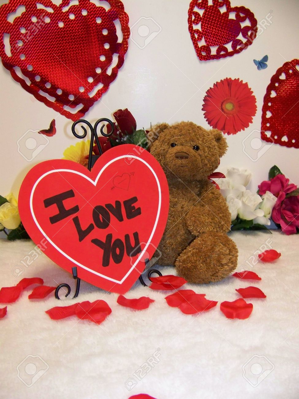 Valentines Day Teddy Bear With Hearts And Flowers And I Love Stock