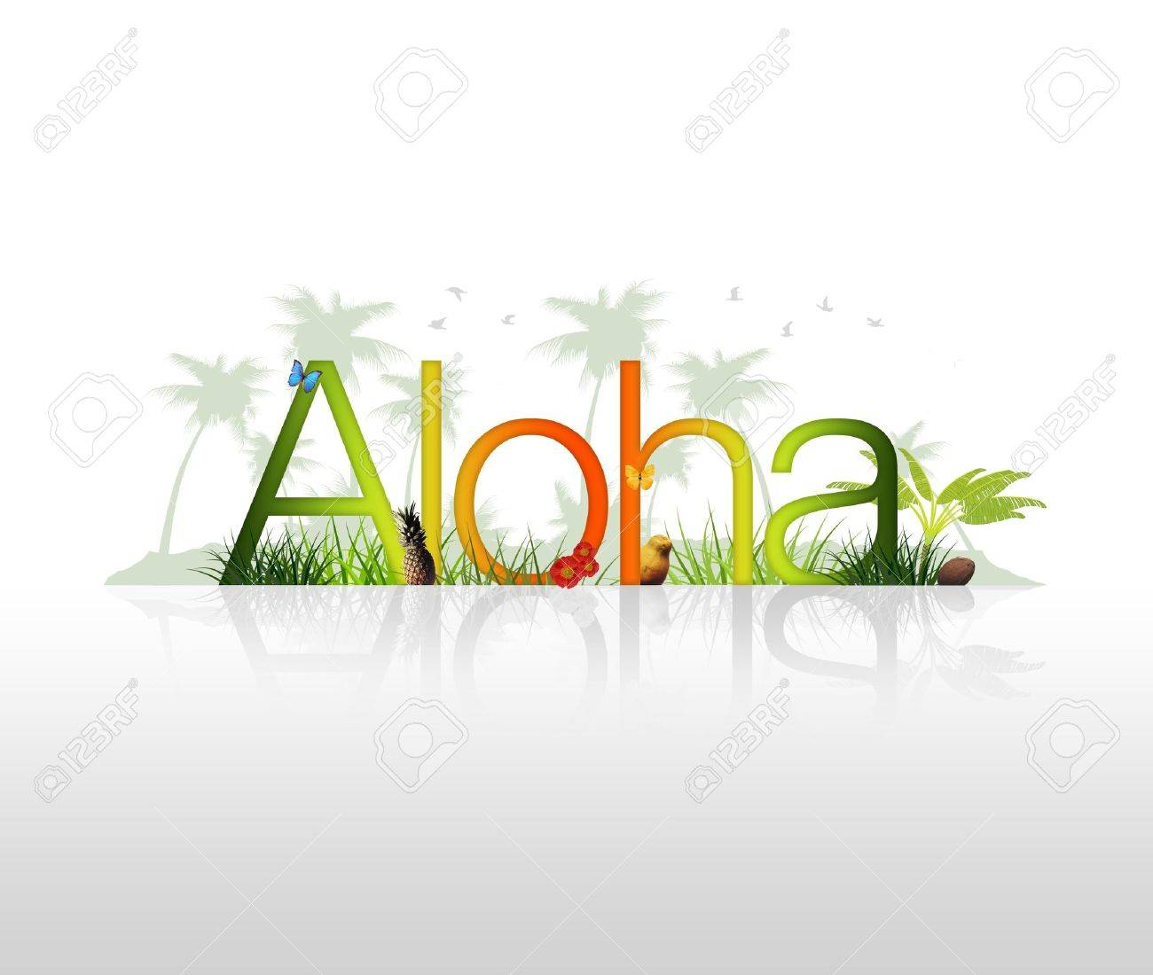 High Resolution graphic of the word Aloha with tropical elements