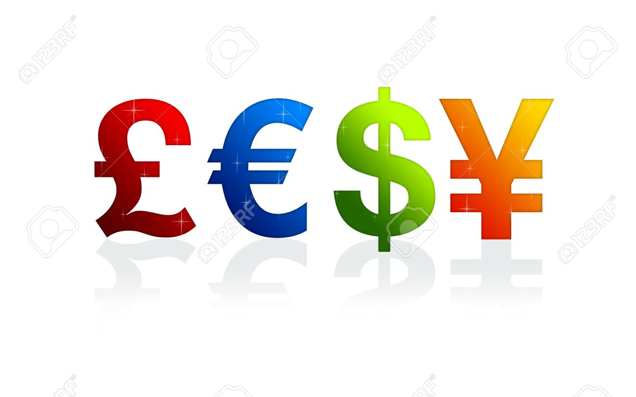 High Resolution Currency Signs Of Dollar Pound Yen And Euro Stock