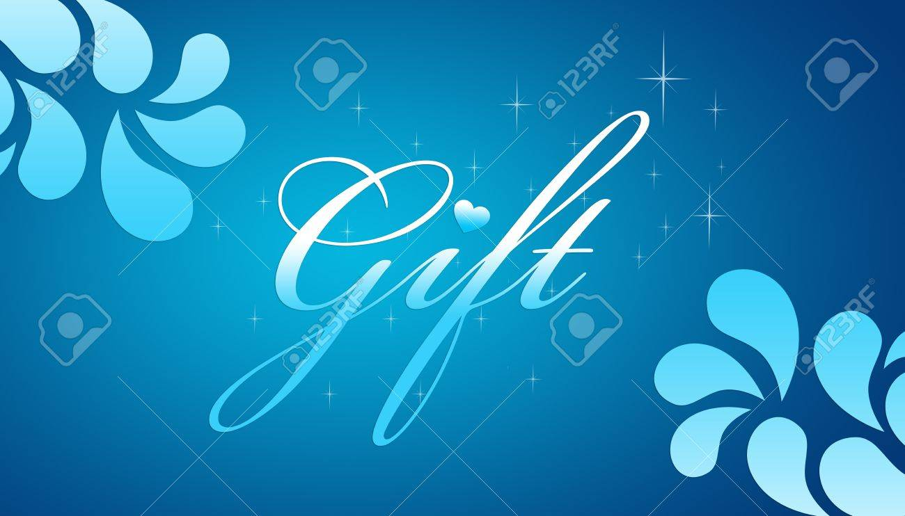 High resolution promotional gift certificate grahic with floral elements on blue background. Stock Photo - 9131027