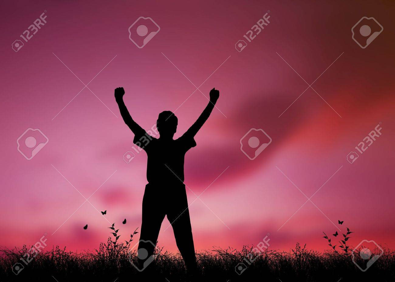 High resolution graphic of a man silhouette with his arms raised in worship - 9616509
